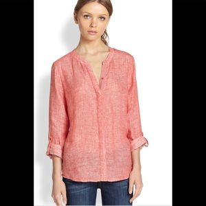 Joie red stonewashed linen tunic S